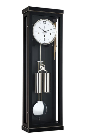 Regulator Clock - Hermle ABBOT 8-Day Cable Driven Regulator Wall Clock, Westminster Chimes, Black Finish, 70993740351