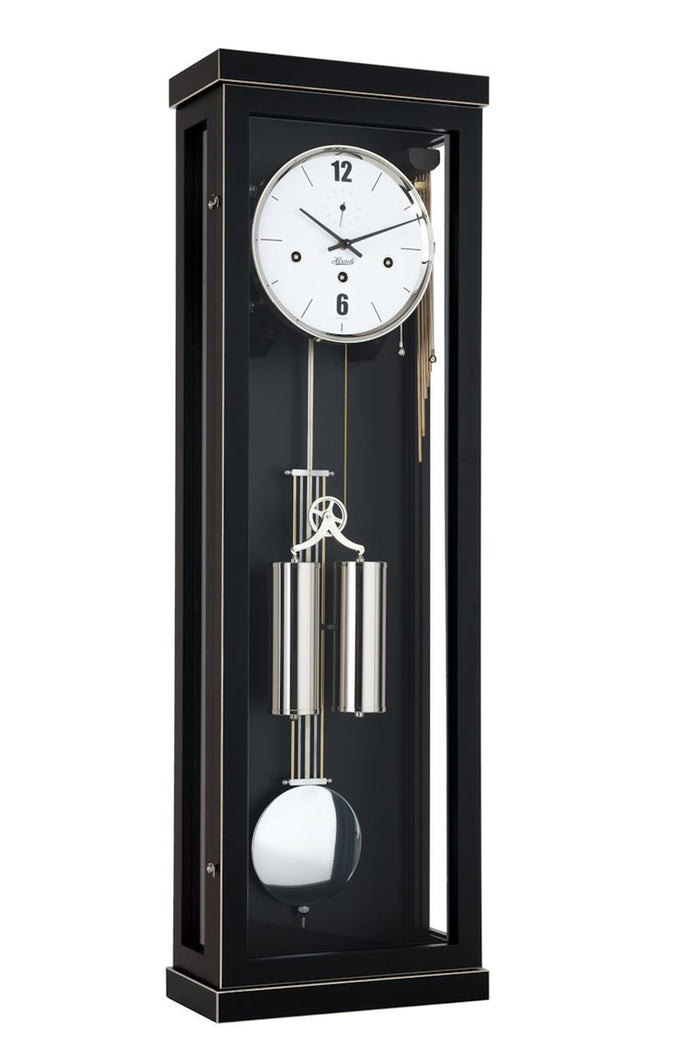 Hermle ABBOT 8-Day Cable Driven Regulator Wall Clock, Westminster Chimes, Black Finish, 70993740351