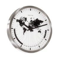 Hermle AIRPORT World Time Quartz Wall Clock 30504002100, Nickel Finish