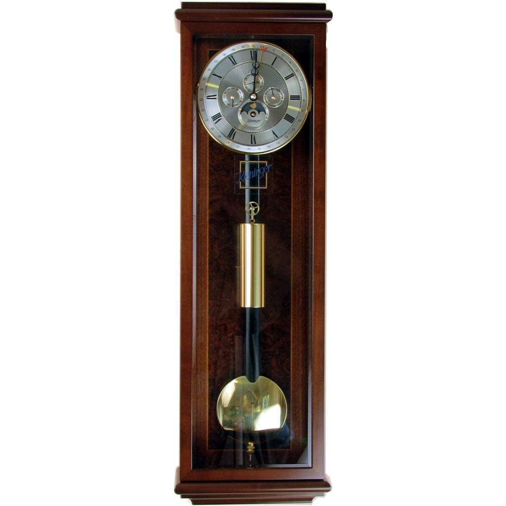 Wall Clock / Regulator - Kieninger Amalie 2851-23-04 MiniWeight Regulator 31-Day, Calendar, Moonphase, Walnut