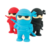 Blue, red and black Ninja Pencil Erasers