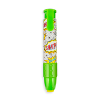 Green Comic Attack ClickIt pencil eraser with comic designs