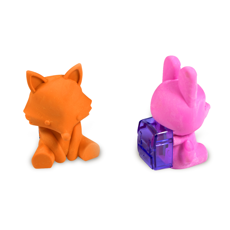 Back of Woodland Writing Pals Bunny Eraser showing the sharpener with the Fox eraser sharpener facing forward