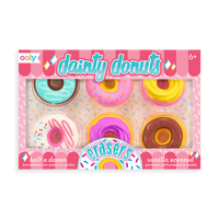 Dainty Donut pencil eraser set with 6 different styles and vanilla scented