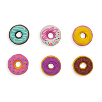 Display of all 6 Dainty Donut pencil erasers