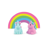 2 unicorn erasers and a large rainbow pencil eraser from the Unique Unicorns scented eraser set