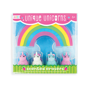Unique Unicorns strawberry scented unicorn erasers with a large rainbow eraser