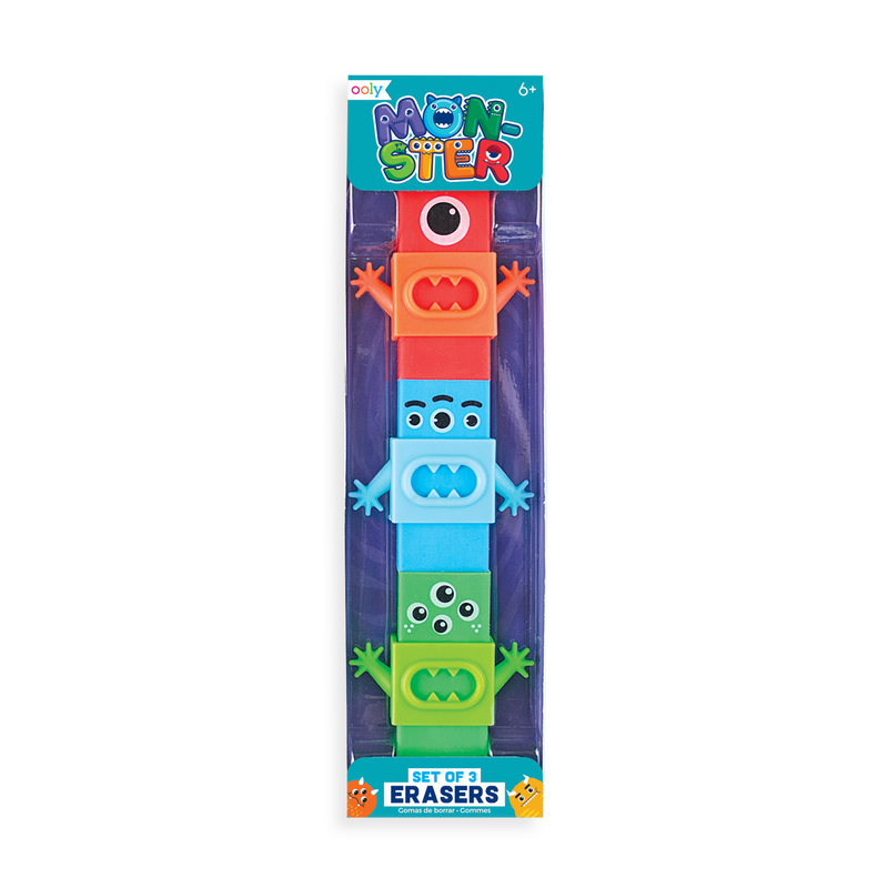 OOLY Monster Erasers Set of 3 in packaging