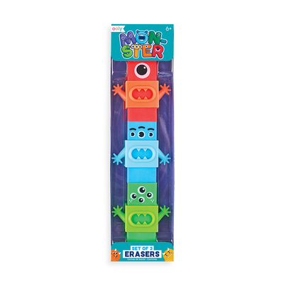 Set of 3 colorful Monster Erasers with fun arm and mouth plastic sleaves
