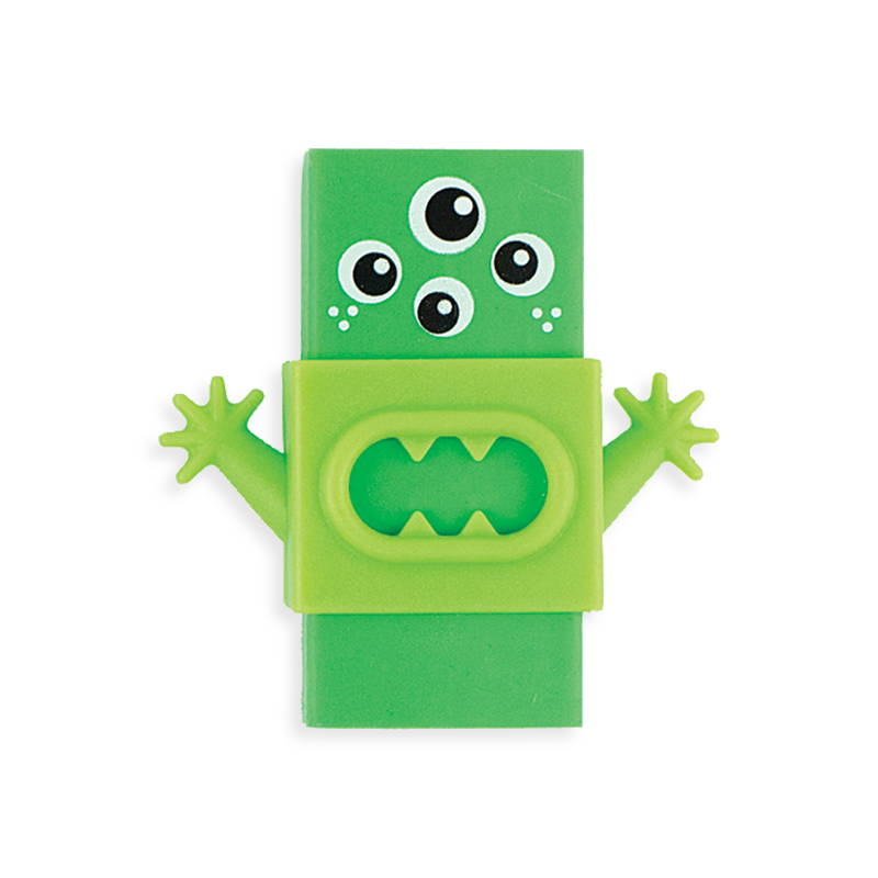 Green Monster Eraser with interchangeable plastic sleeve.
