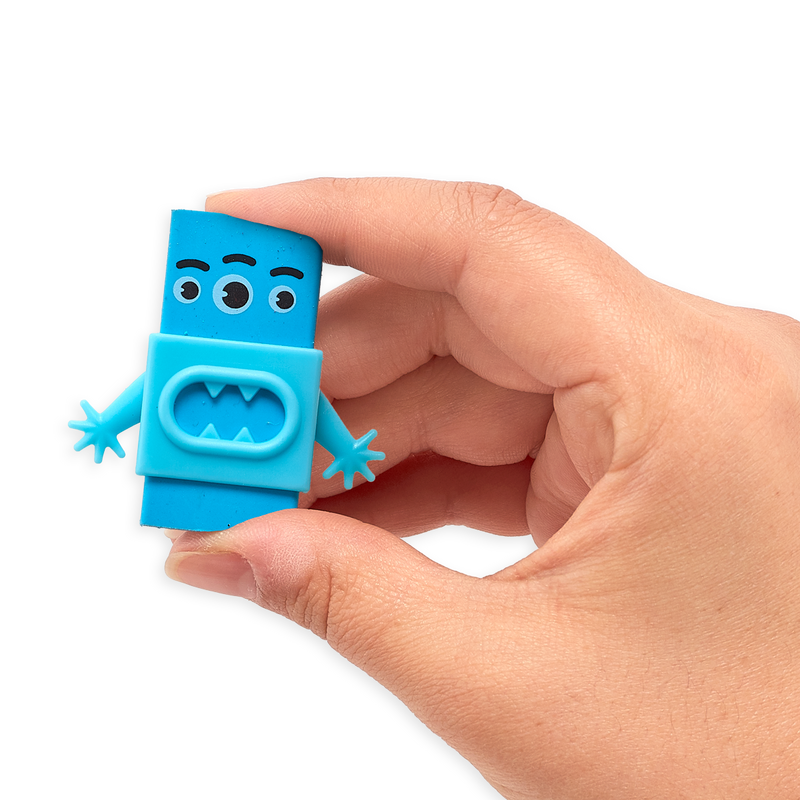 Hand holding up blue Monster Eraser