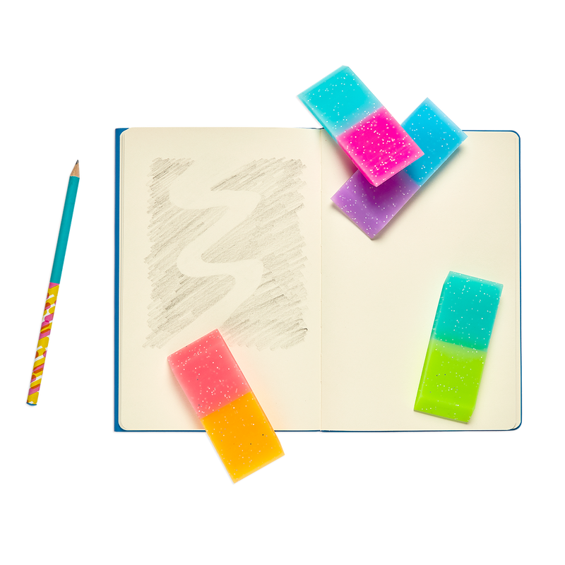 Oh My Glitter Jumbo Erasers with notebook and pencil
