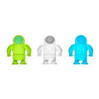 3 different colors of Astronaut Erasers shown standing together