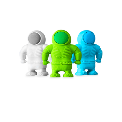 3 Astronaut Erasers shown standing together