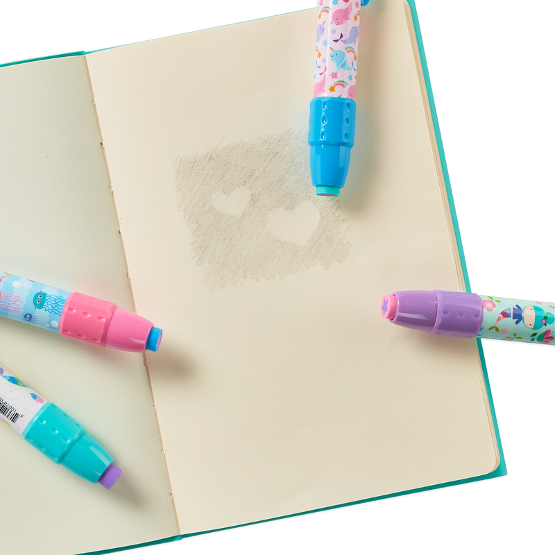 Mermaid Magic click erasers erasing a heart on a sketchbook