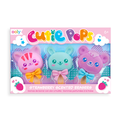 Set of three Cutie Pop scented erasers with fun animal heads