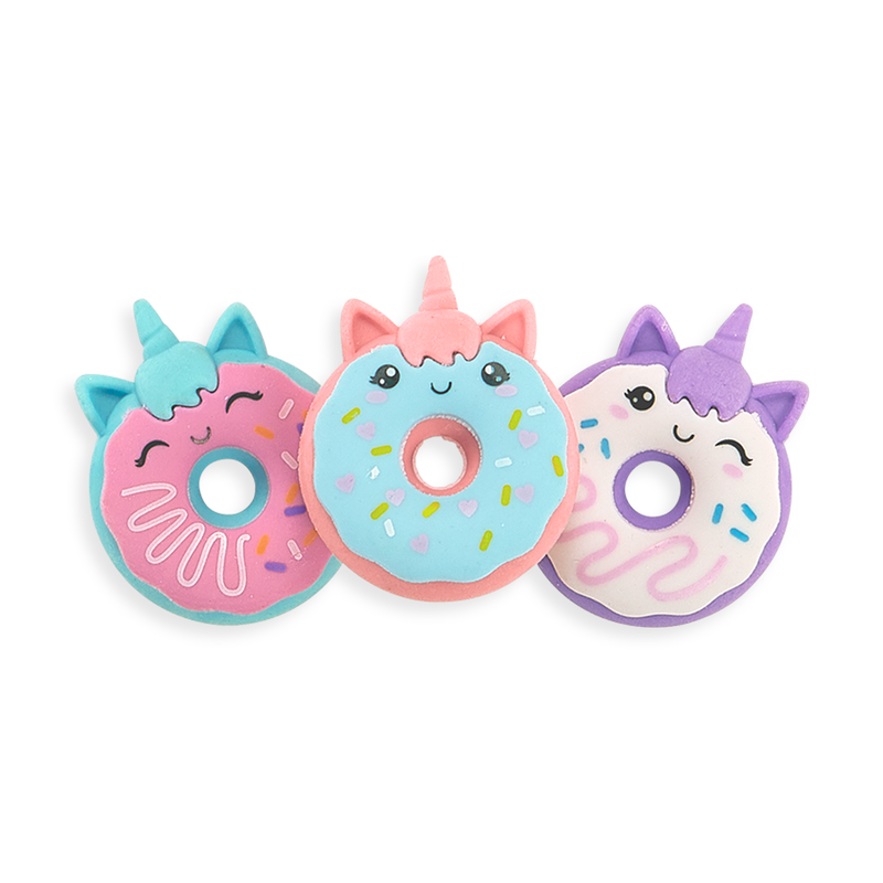 Magic Bakery Unicorn Donut Scented Erasers in a row