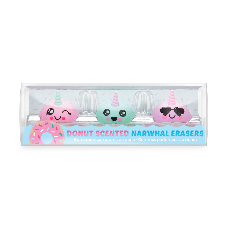 Nom Nom Narwhals Scented Erasers - Set of 3 inside package (front)