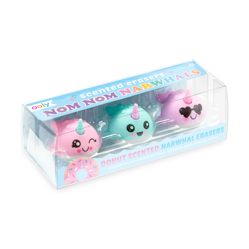 Nom Nom Narwhals Scented Erasers - Set of 3 inside package at an angle