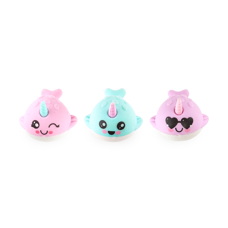 All 3 Nom Nom Narwhal Erasers in a row showing their cute faces
