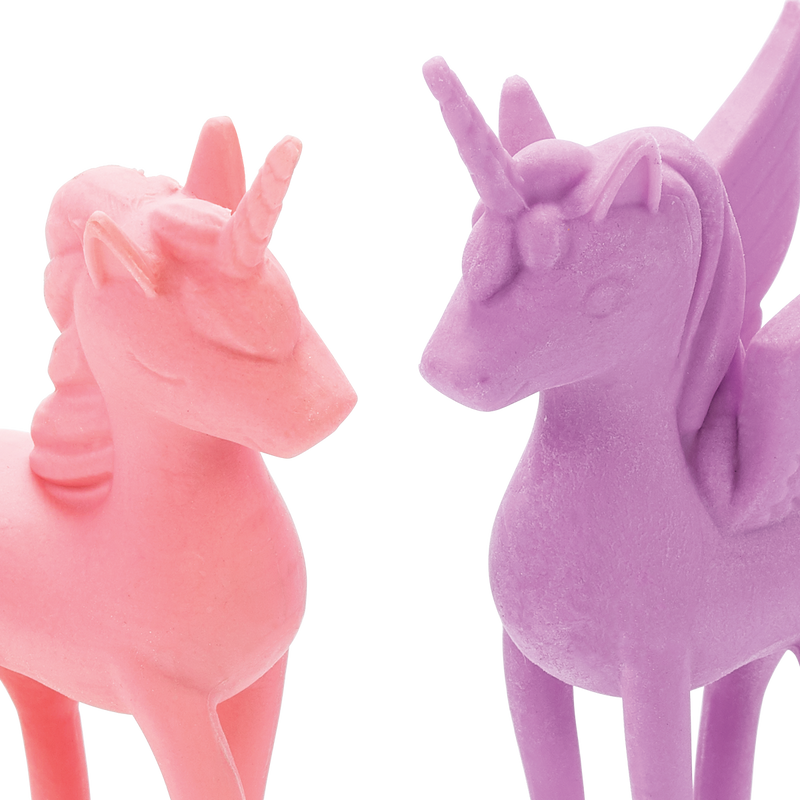Close up of OOLY Unicorn BFF Cotton Candy Scented Erasers