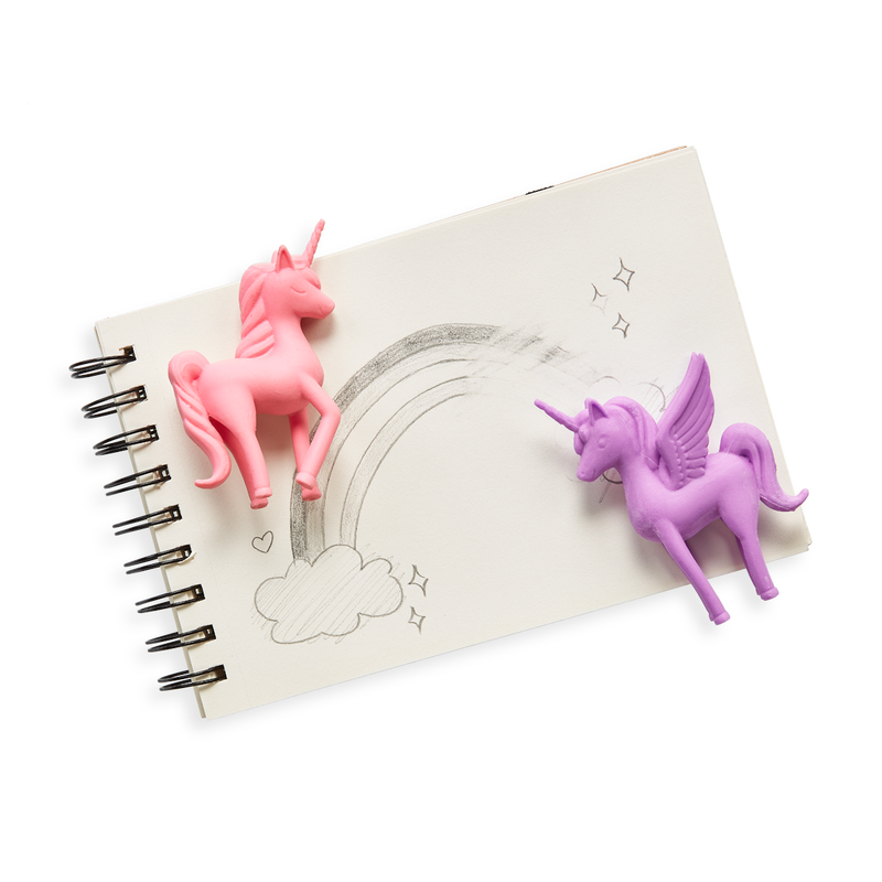 OOLY Unicorn BFF Cotton Candy Scented Erasers on top of a notebook