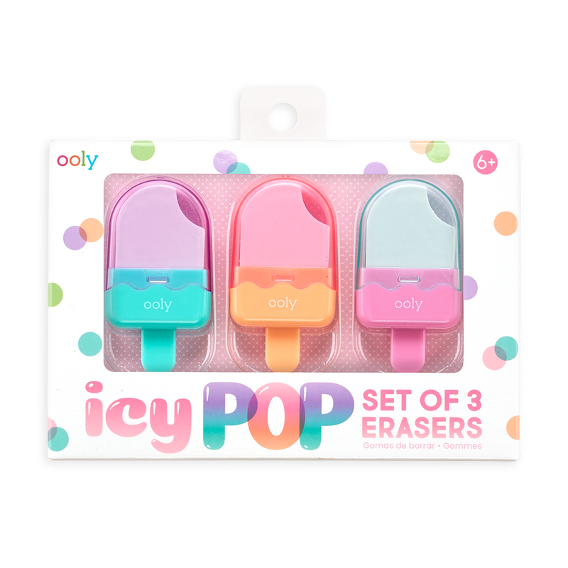 OOLY Icy Pop Erasers - Set of 3 in package (front)