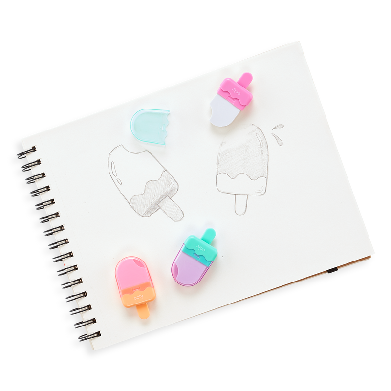 Icy Pop Erasers on paper drawing of pop sickles