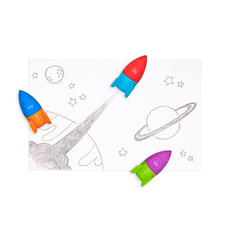 OOLY Blast Off Eraser Sharpeners and erasers