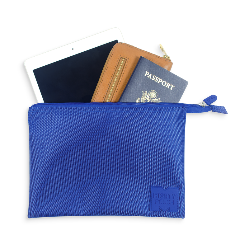 Mighty Pouch - Blue, a handy pouch with mesh pocket and zippered compartments. Perfect for travel.