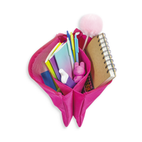 Pink Mighty Pouch shown open stuffed with stationery items.