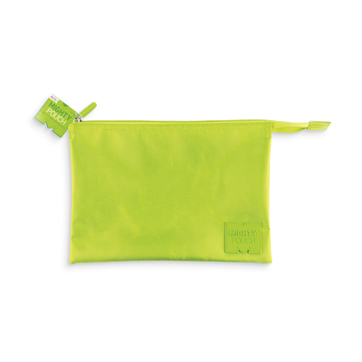Mighty Pouch - Green, a handy pouch with mesh pocket and zippered compartments.