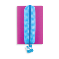Blue On the Go Zipper Pencil Pouch on Pink Flipside Notebook