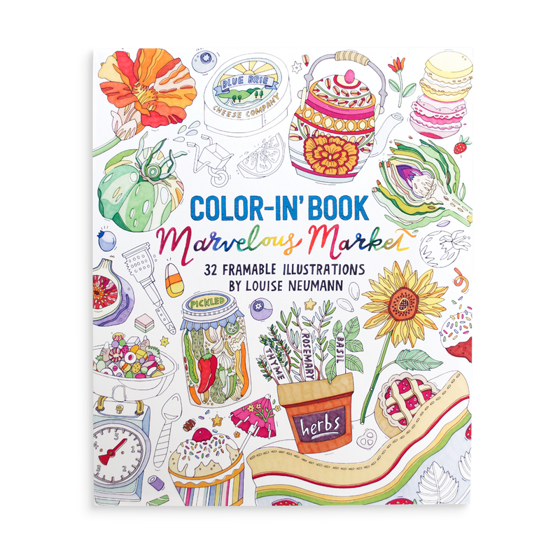 Marvelous Market Coloring Book with exotic market coloring illustrations