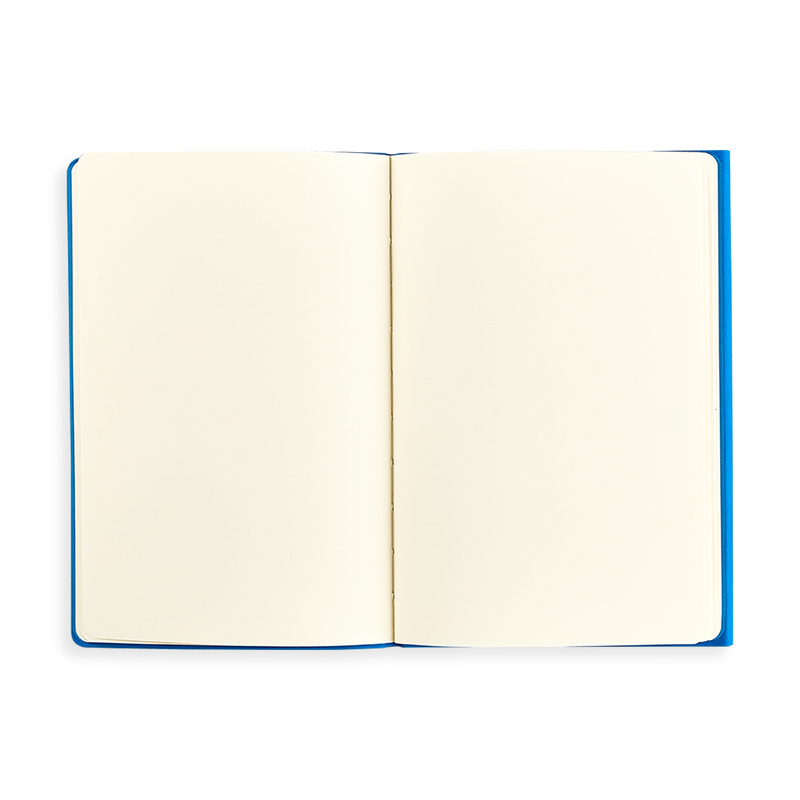 Open blue Flipside Notebook showing blank pages
