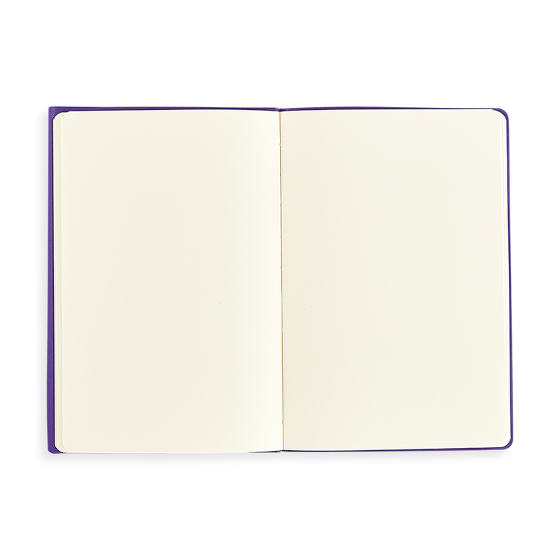 Open purple Flipside Notebook showing blank pages