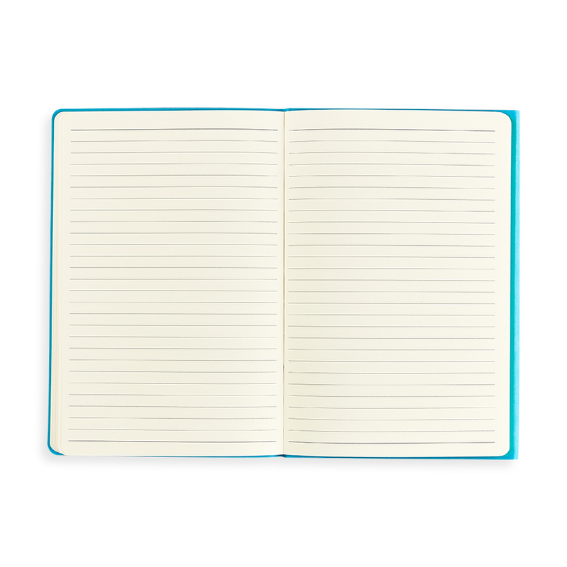 Open purple Flipside Notebook showing lined pages