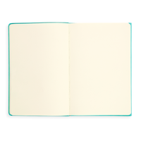 Open teal Flipside Notebook showing blank pages