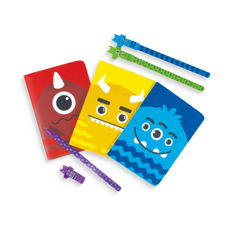 Red, yellow and blue Monster Pocket Pal Journals with Monster Gel Pens