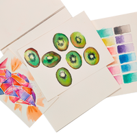 Colorful watercolor art created on Chroma Blends Watercolor Paper Pad fanned out