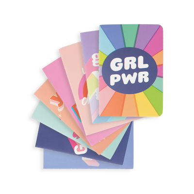 8 fanned Pocket Pal Journals GRL PWR lined paper pocket notebooks
