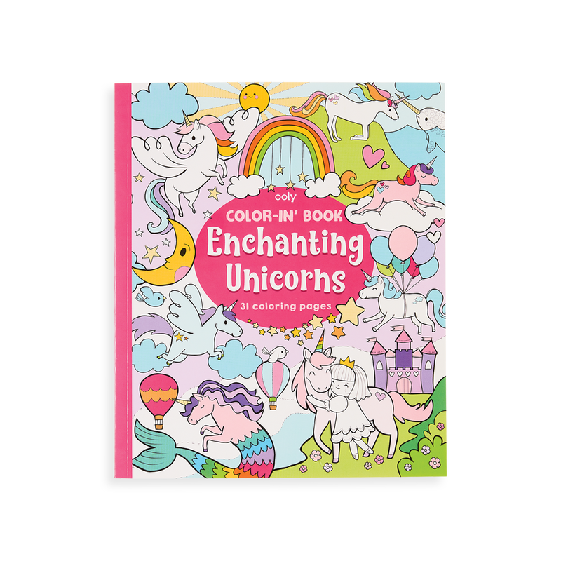 Enchanting Unicorns Coloring Book front cover