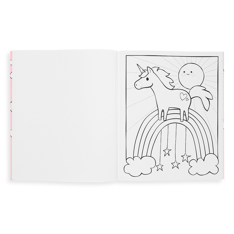 Enchanting Unicorns Coloring Book page showing a unicorn & rainbow