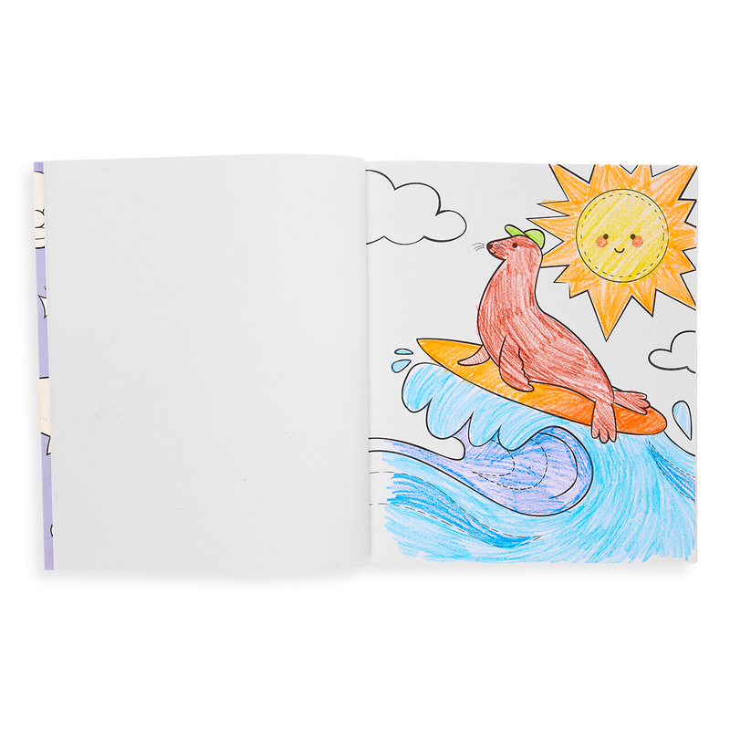 Outrageous Ocean Coloring Book colored in page with a seal on a surfboard