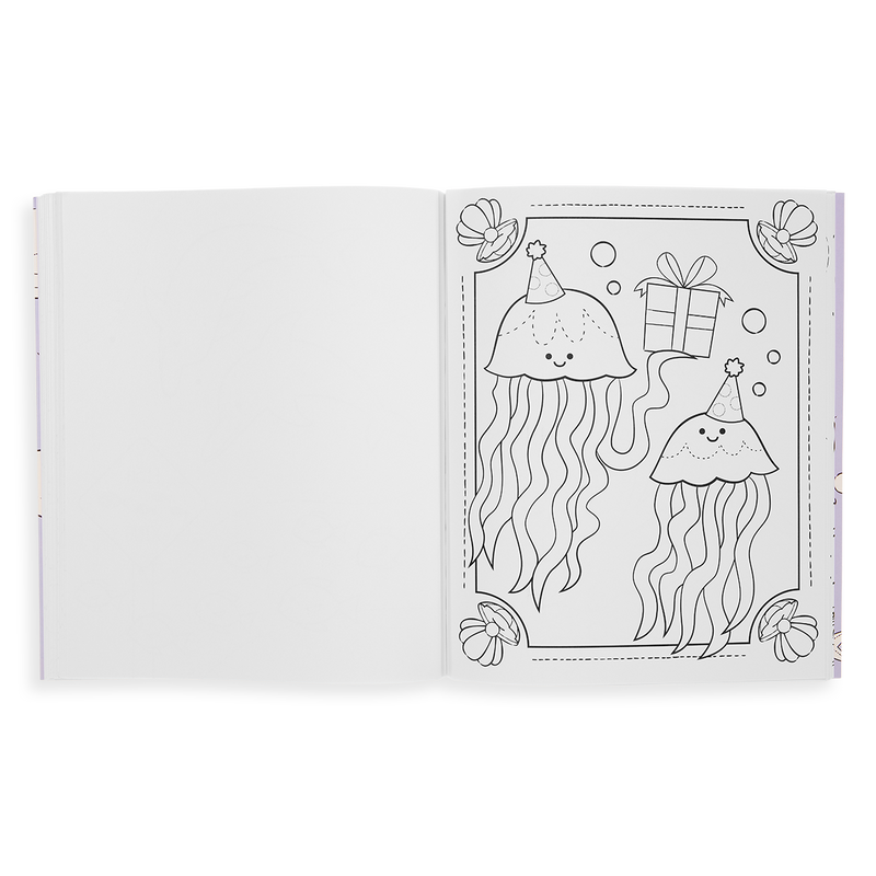 A coloring page from Outrageous Ocean Coloring Book showing jelly fish at Birthday party