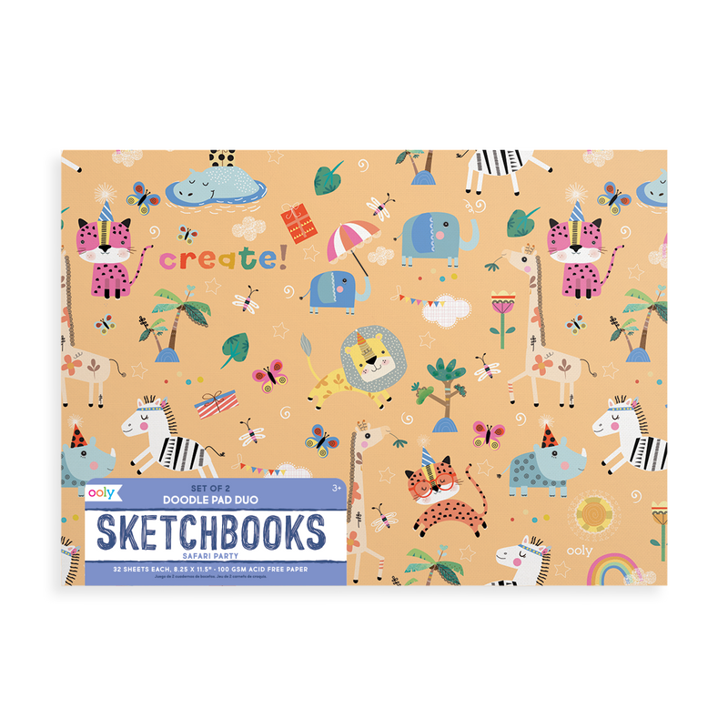 Safari Party Doodle Pad Duo Sketchbooks - Set of 2