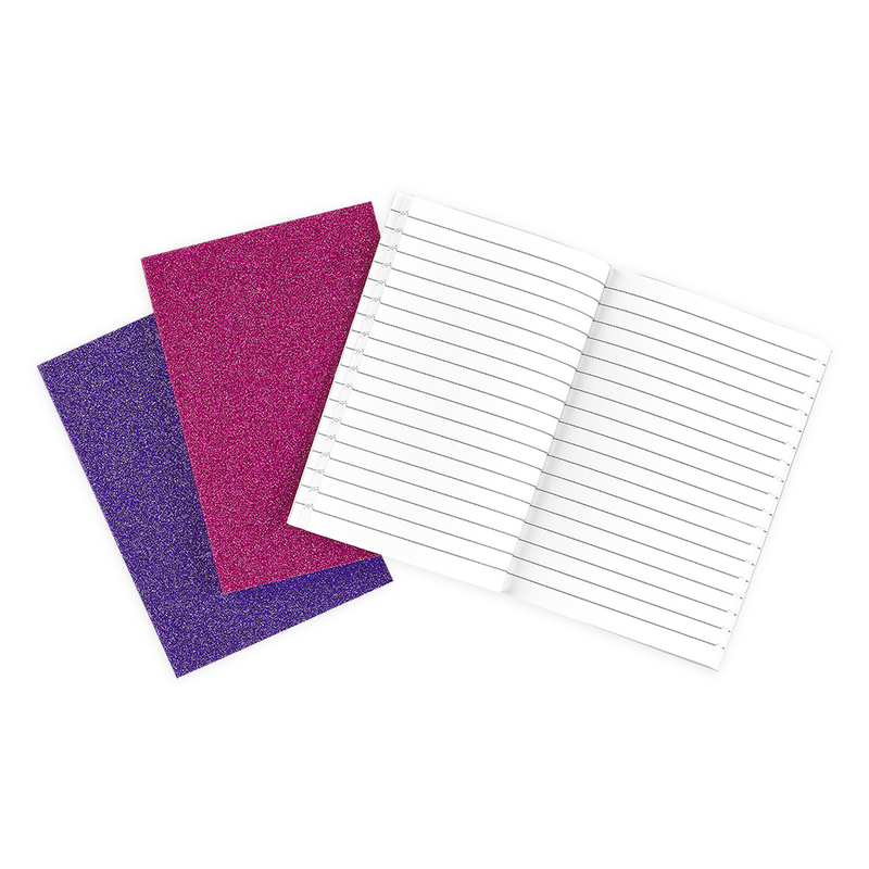 Oh My Glitter notebooks in three different shades of pink glitter covers with lined paper