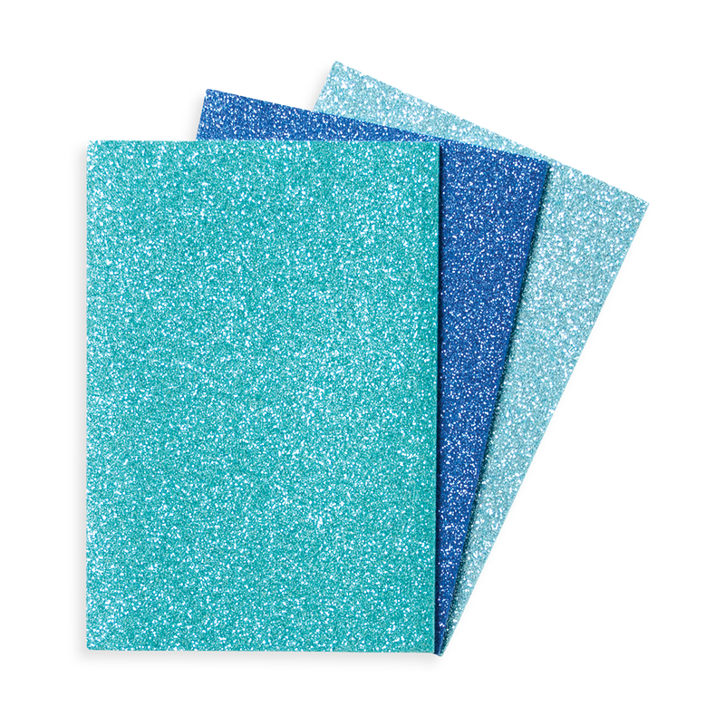 3 blue Oh My Glitter Notebooks without label