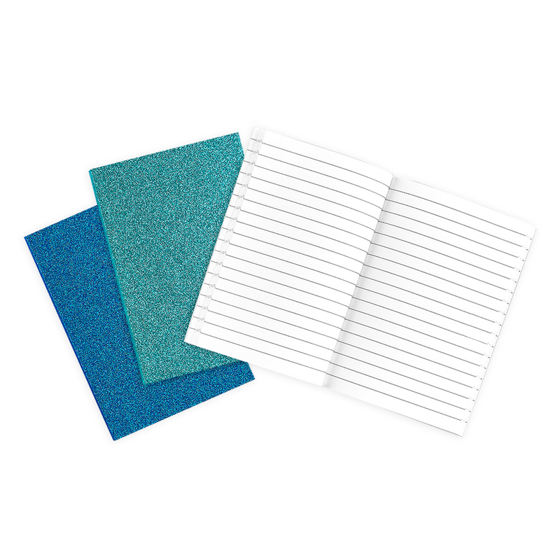 3 blue Oh My Glitter notebooks with lined paper