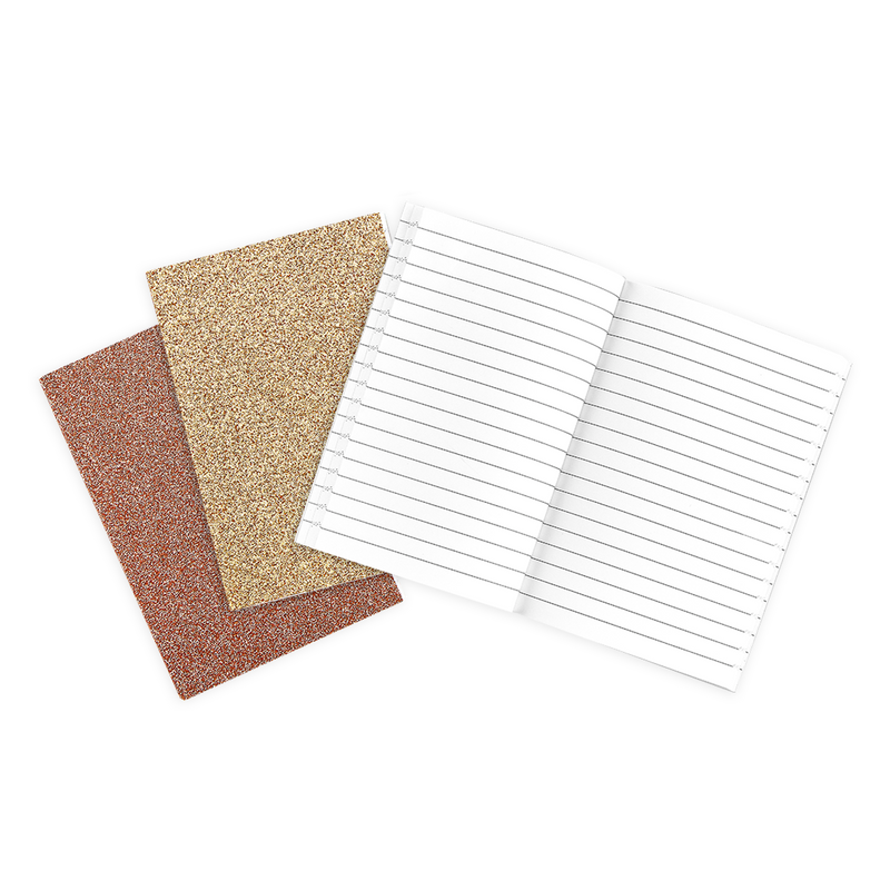 3 gold Oh My Glitter notebooks with lined paper